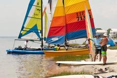Hobie Cats on Florida`s Gulf Coast. Hobie Cats being prepared for launch on Florida`s Gulf Coast Stock Photo