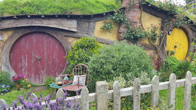 Hobit Home. Lord of the rings tour New Zealand. Hobbit home. Colorful Doors. Home in hill Stock Photography