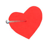Hobnail in a red heart Stock Photography