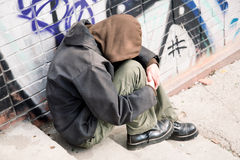 Hobo. Life on street concept, special toned, selective focus Royalty Free Stock Image