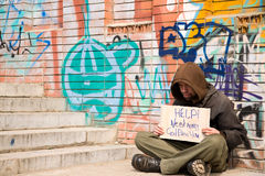 Hobo. Life on street concept, special toned, selective focus Royalty Free Stock Images