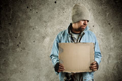 Hobo. Homeless person, selective focus on man Royalty Free Stock Images