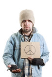 Hobo. Homeless person isoleted on white background , selective focus stock image