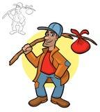 Hobo Cartoon. Illustration of a hobo holding his bindle sack Stock Photos