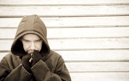 Hobo man in problem Royalty Free Stock Photo