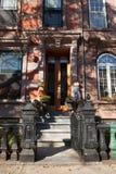 Hoboken Halloween Decorating. HOBOKEN, NEW JERSEY - October 27, 2017: The beautiful brownstones along Garden Street are decorated for Halloween Stock Images