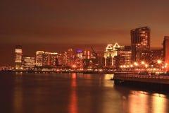 Hoboken in Nacht Stock Foto's