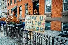Hoboken NJ Sign that says thank you to healthcare workers