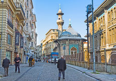 The Hobyar Cami. ISTANBUL, TURKEY - JANUARY 21, 2015: The Hobyar Cami (Mosque) is the small hexagonal building, decorated with famous Turkish Kutahya tiles, but stock image