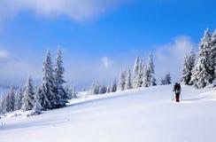 Hoch auf den Bergen der Mann geht auf die schneebedeckten Felder und die Wälder am kalten schneebedeckten Tag Stockfoto