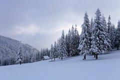 Hoch auf den Bergen im Wald, der mit Schnee dort bedeckt wird, ist einsame alte hölzerne Hütte Lizenzfreies Stockfoto