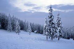 Hoch auf den Bergen im Wald, der mit Schnee dort bedeckt wird, ist einsame alte hölzerne Hütte Stockfoto