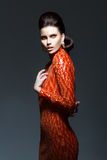Hoch entwickelte stilvolle Frau, wenn glänzendes Kleid - High Society geglättet wird Lizenzfreies Stockfoto