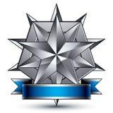 Hoch entwickeltes Vektoremblem mit silbernem glattem Stern Lizenzfreie Stockbilder