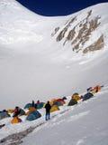 Hoch gelegenes Bergsteigerlager Stockbild