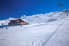 HOCH-YBRIG, SWITZERLAND - February 26, 2015- Skiers skiing on sk Stock Images