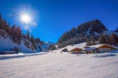 HOCH-YBRIG, SWITZERLAND - February 26, 2015- Skiers skiing on sk Stock Image