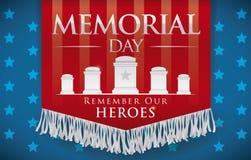 Hochachtungsvolle Fahne für Memorial Day, das an gefallene Helden, Vektor-Illustration sich erinnert Stockbild