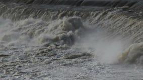 Hochauflösender Nahaufnahmefilm des schnellen hetzenden Wassers von Willamette fällt mit Audioton in Oregon-Stadt 1080p stock video footage