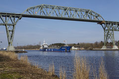 Hochdonn – General cargo vessel Baltic Diep at the Kiel Canal Stock Photography