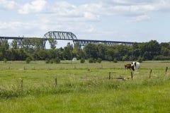 Hochdonn - Railroad bridge over the Kiel Canal in the landscape Stock Photos