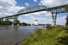 Hochdonn - Railway bridge over the Kiel Canal Royalty Free Stock Photography