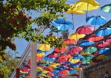 Hochfliegende Regenschirme der Gasse St Petersburg Lizenzfreies Stockbild
