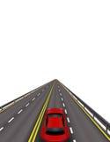 Hochgeschwindigkeitslandstraße Rote Autos auf der Straße In der Perspektive Getrennt auf weißem Hintergrund Abbildung Lizenzfreie Stockfotografie