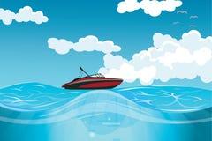 Hochgeschwindigkeitsmotorboot auf der hohen See Stockbilder