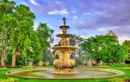 Hochgurtel陈列喷泉在卡尔顿庭院-墨尔本,澳大利亚 图库摄影