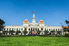 Hochiminh city Peoples Committee building. HOCHIMINH CITY, VIETNAM: Peoples Committee building in Hochiminh city, Vietnam. Hochiminh city is the biggest city in Royalty Free Stock Photos