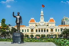 Hochiminh statue in Vietnam. HOCHIMINH CITY, VIETNAM: Hochiminh statue in front of Peoples Committee building in Hochiminh city, Vietnam. Hochiminh city is the Stock Photography