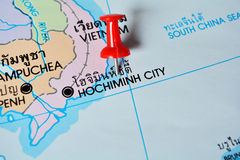 Hochiminh city vietnam map. Macro shot of hochiminh city vietnam map with push pin stock photos