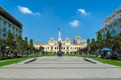 Hochiminh statue in Vietnam. HOCHIMINH CITY, VIETNAM: Hochiminh statue in front of Peoples Committee building in Hochiminh city, Vietnam. Hochiminh city is the Royalty Free Stock Photo