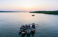 Hochiminh Vietnam. February 5, 2015: View sunset on the river in the district cangio in Hochiminh, Vietnam stock image
