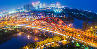 Hochiminh Vietnam. July 20, 2014: View of bridge and road Nguyenvanlinh Mr. Big at night in District 7 City royalty free stock images