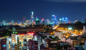 Hochiminh Vietnam. July 9, 2014: View of the city center of Ho Chi Minh in Hochiminh City, Vietnam stock photo