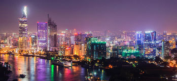 Hochiminh Vietnam. July 25, 2014: View of the city at night Hochiminh gorgeous and colorful in Hochiminh City, Vietnam Royalty Free Stock Images