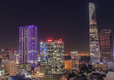 Hochiminh Vietnam. June 29, 2014: View of several buildings at night in Hochiminh, Vietnam Stock Photo