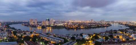 Hochiminh Vietnam. November 17, 2014: View Thanh Da peninsula at sunset in Hochiminh, Vietnam Stock Photography