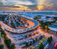 Hochiminh Vietnam. October 3, 2014: View of Tan Son Nhat airport at sunset in Hochiminh, Vietnam Stock Photos