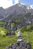 Hochkoenig góra z kamienną figurką Obrazy Stock
