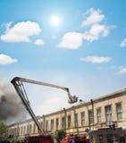 Hochkonjunktur eines Firetruck stockfoto