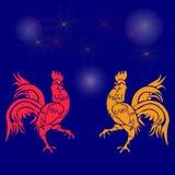 Hochnäsiger Hahn zwei, rot und gelb auf einem Hintergrund von Feuerwerken Chinesisches Horoskop - Hahn Chinesisches neues Jahr Lizenzfreie Stockfotografie