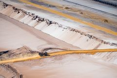 Sand dump truck in an open pit mine. HOCHNEUKIRCH, GERMANY - JULY 7, 2018: Sand dump truck transporting sand in the Garzweiler brown coal mine stock image