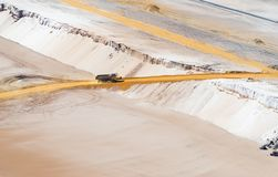 Sand dump truck in an open pit mine. HOCHNEUKIRCH, GERMANY - JULY 7, 2018: Sand dump truck transporting sand in the Garzweiler brown coal mine royalty free stock photos