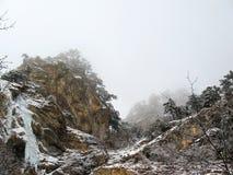 Hochragender orange Schnee bedeckte Felsen Gefrorener Wasserfall Kaskadenberge mit den Bäumen, die im Nebel sich verstecken stockfoto