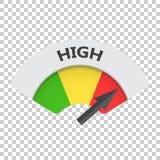 Hochrangige Risikomessgerät-Vektorikone Hohe Brennstoffillustration auf ISO Lizenzfreie Stockfotografie
