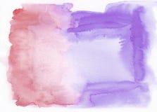 Hochrot oder roter und violetter Lavendel mischten abstrakten Aquarellhintergrund Es ` s nützlich für Grußkarten, Valentinsgrüße Lizenzfreie Stockfotografie