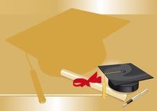 Hochschulabschlusscollege-Grußkarte gold.cdr Stockfotos
